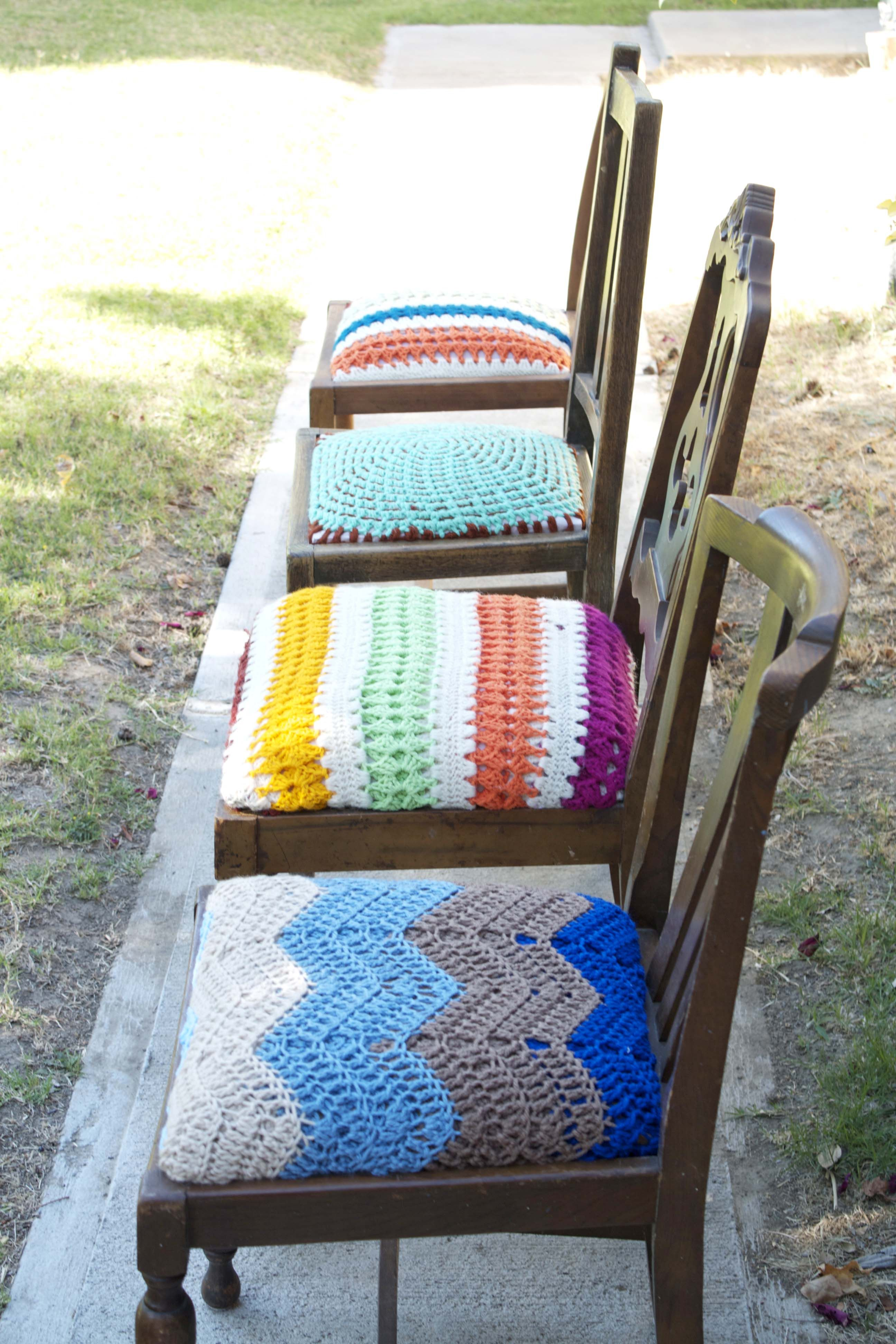 Crocheted Seats For Mismatched Dining Chairs