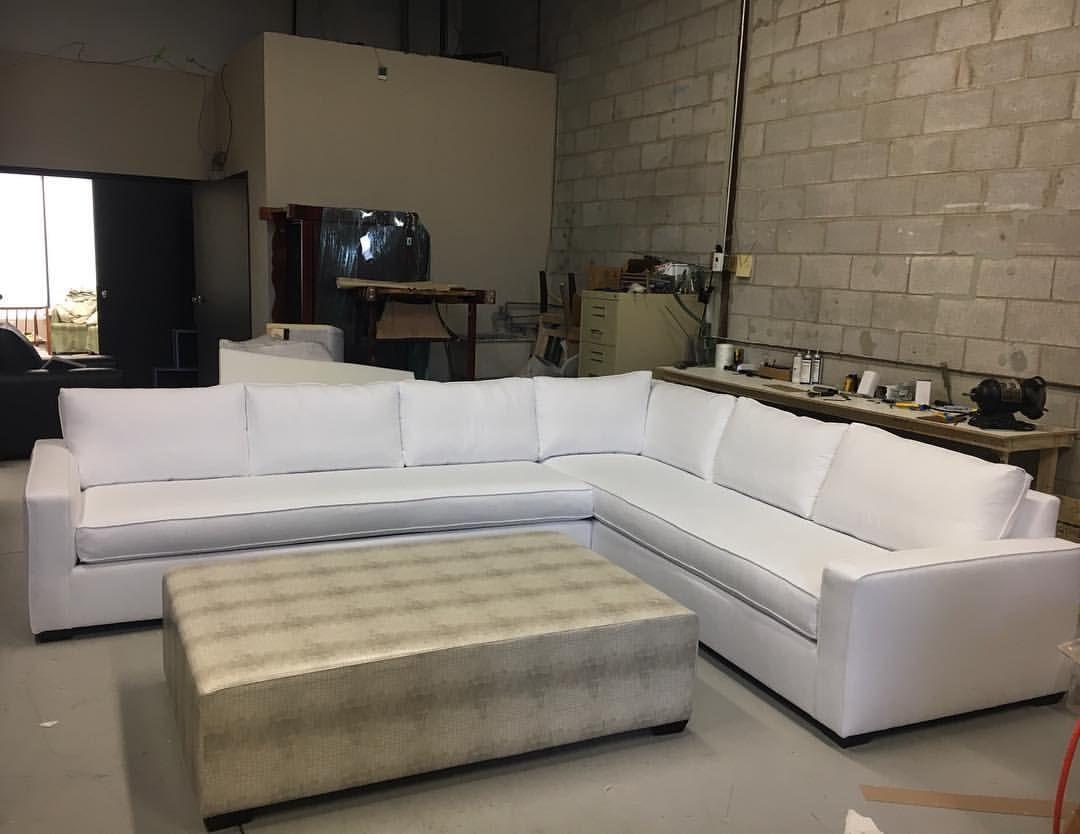 Custom White Sectional Sofa Upholstery Ottoman Coffeetable Design Lounging Livingroom Familyroom Basement Den Sleek Sofa Modern Sofa White Sofas