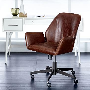 Aluna Leather Office Chair Westelm Modern Desk Chair Brown Leather Office Chair Home Office Chairs