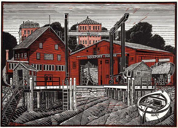 James Dodds Rockport Marine Linocut Prints Linocut Prints