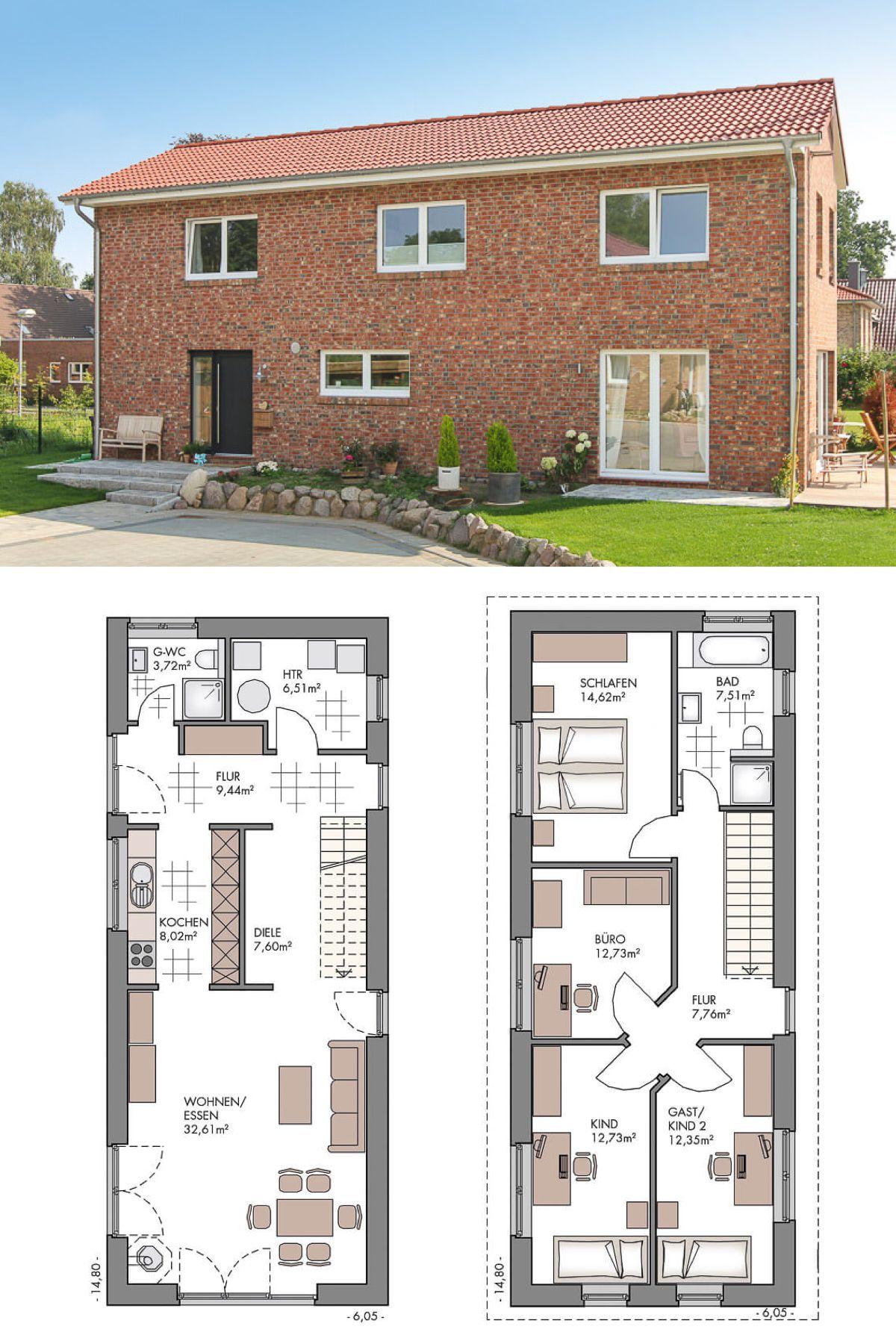Modernes einfamilienhaus grundriss schmal mit klinker for Modernes einfamilienhaus grundriss