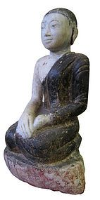 Burmese Antique Carved Marble Seated Monk