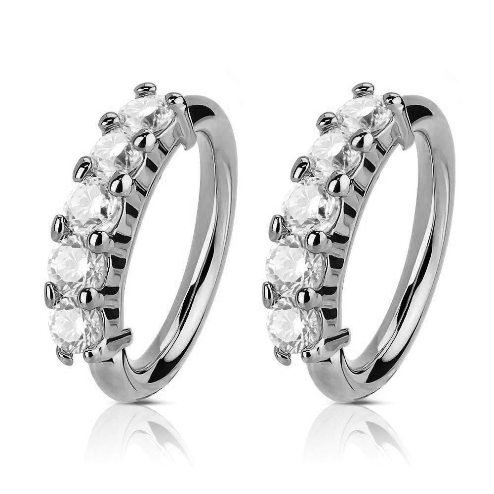 5cb74654fb5 Arianna Crystal Nose / Ear Piercing Earring 18G Ring in Silver ...