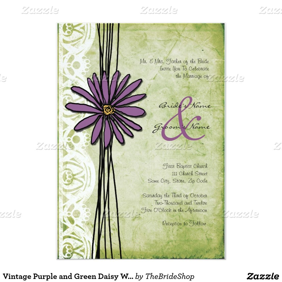 Vintage Purple and Green Daisy Wedding Invitations   Daisy wedding ...