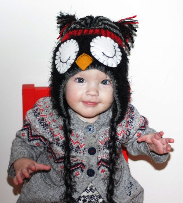 Black and red owl hat