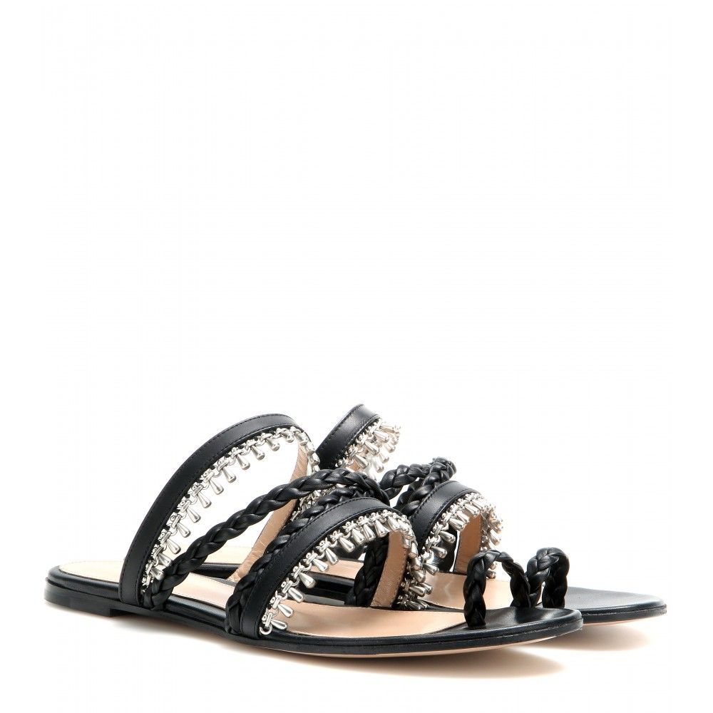 bc993838c mytheresa.com - Embellished leather sandals - Flat - Sandals - Shoes - Gianvito  Rossi