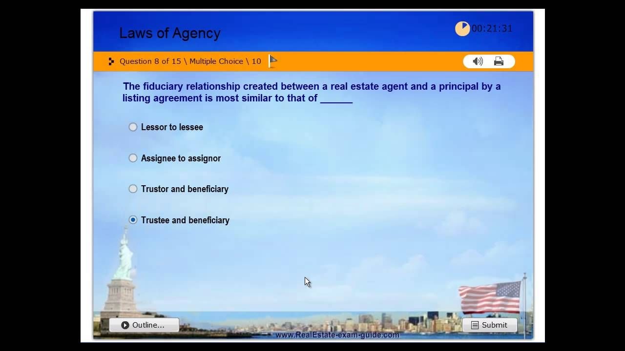 Real Estate License - Practice Exam #1 - Laws of Agency - Free Test