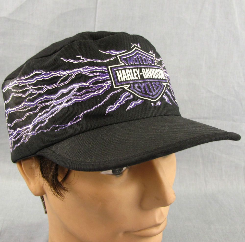 Harley Davidson Vintage Hat Painter Cap Adjustable Motorcycle Purple  Lightning  HarleyDavidson  PaintersCap 63a61a6a804