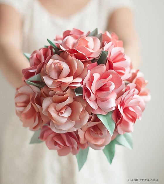 Beautiful the way it curves just really represent my personality diy paper rose wedding bouquet i usually scoff at paper flowers but these look pretty good mightylinksfo