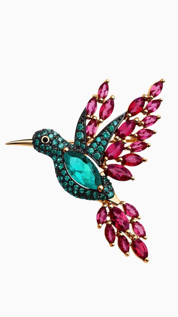 40mm Avalaya Multicoloured Crystal Hummingbird Brooch in Gold Plated Metal
