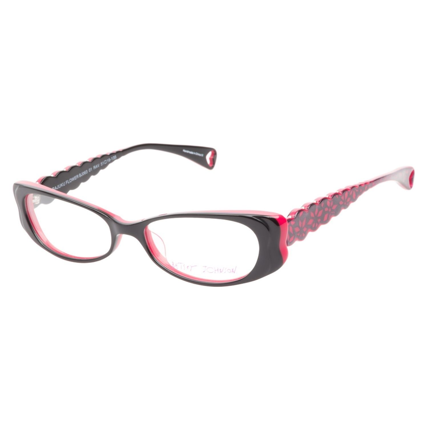 0bd8071c58 Betsey Johnson Harajuku Flower Raven eyeglasses are fiercely fabulous. This  funky frame has a hot