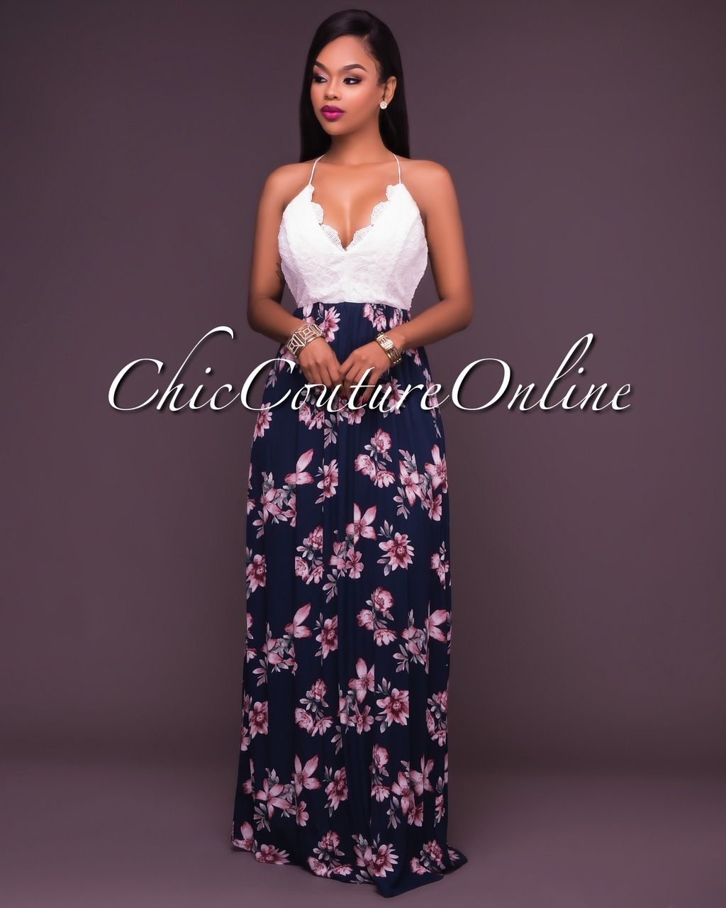 Chic Couture Online - Leilani Lace Bodice Navy Blush Floral Maxi ...