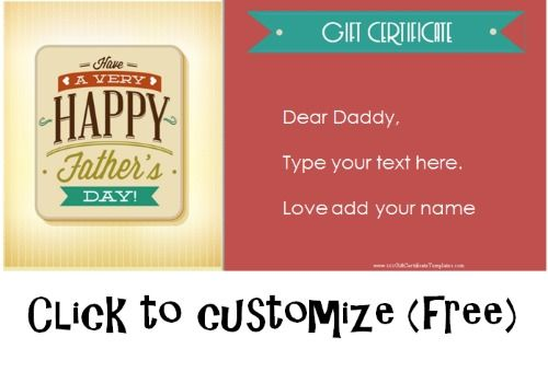 Free Fathers Day Gift Certificates Father\u0027s Day Pinterest Gift