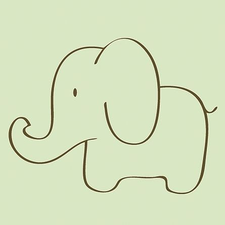 Simple cute traceable outlineable with floss so many possibilities elephant sketch canvas reproduction