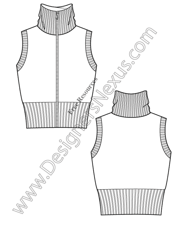 V7 ladies sweater vest free illustrator flat sketch for Vest top template