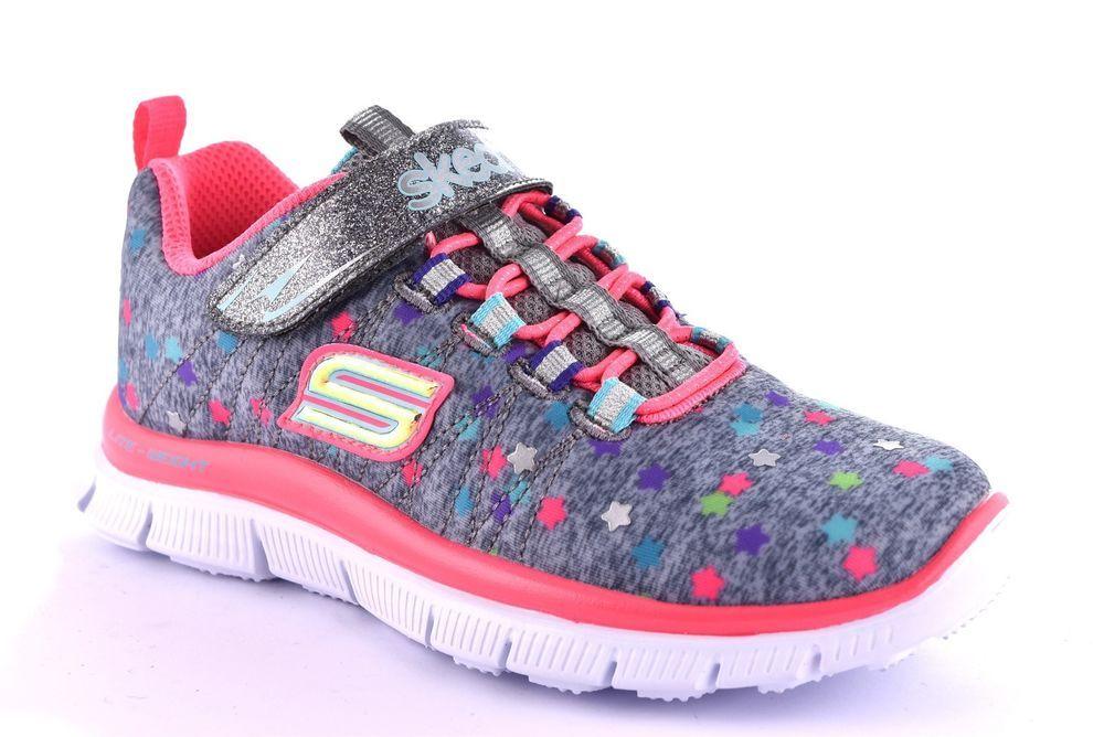 SKECHERS 81814L GYMT GRIGIO Stelle Rosa Bambina Sneaker Strappo Memory Foam  Gel