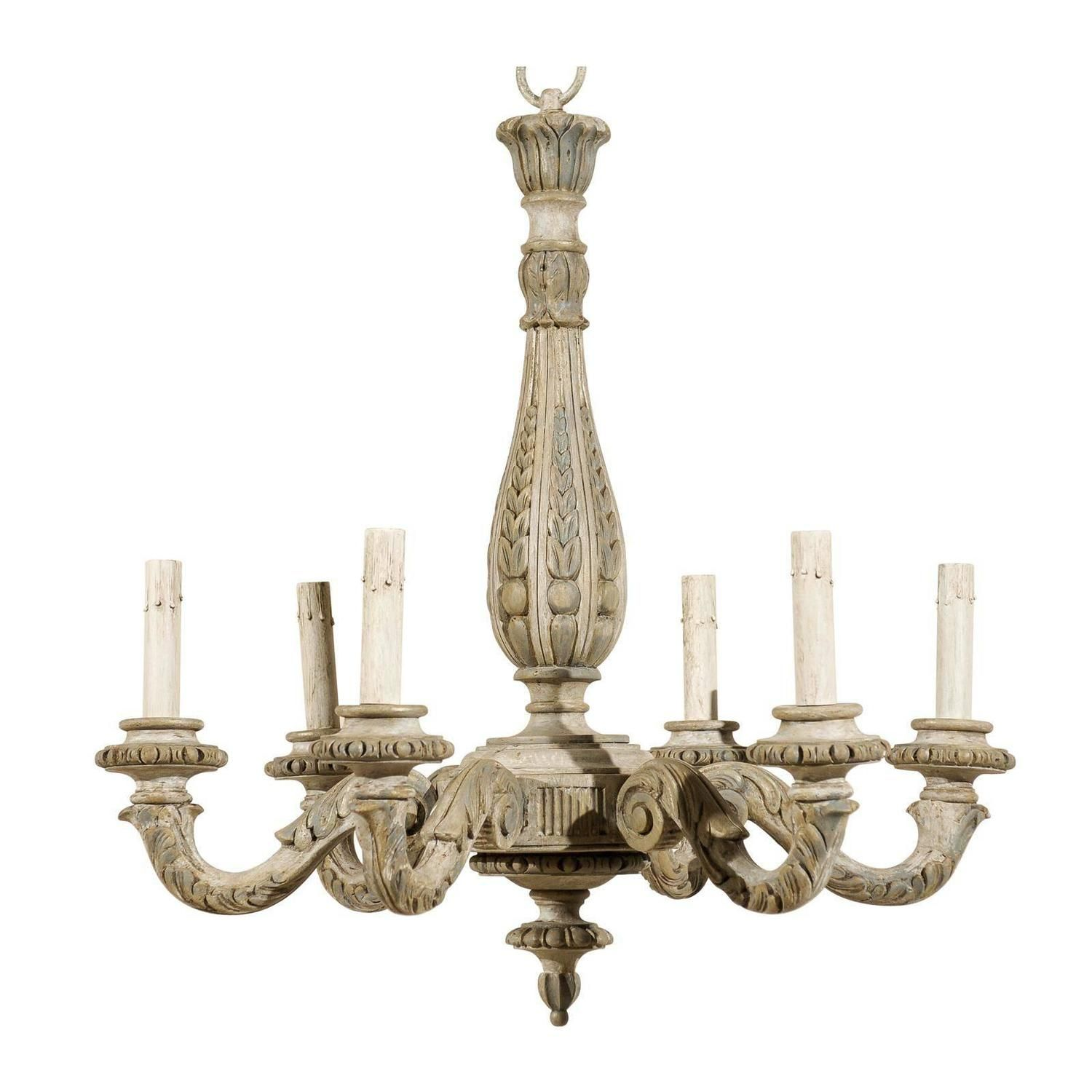 French Vintage Six-Light Carved Wood Chandelier - French Vintage Six-Light Carved Wood Chandelier French Vintage