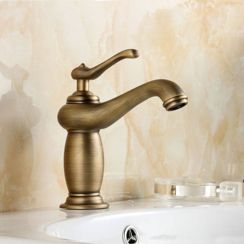 Antique Bathroom Faucet Brushed Copper Hot and Cold Water Basin ...