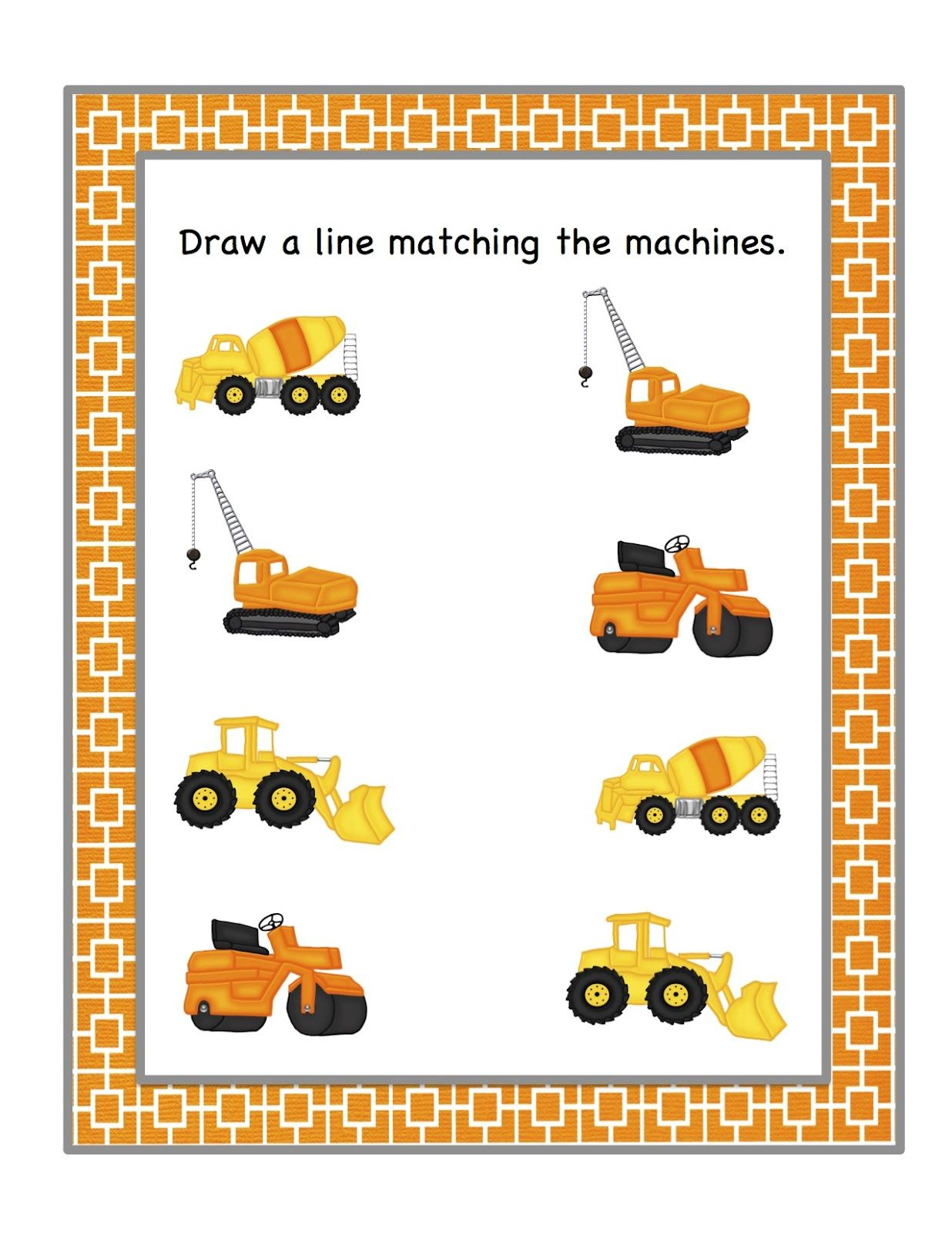 Preschool Printables Construction Machines Printable