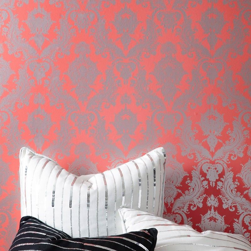 Coral Damask Wallpaper For The Home Cute Wall Decor