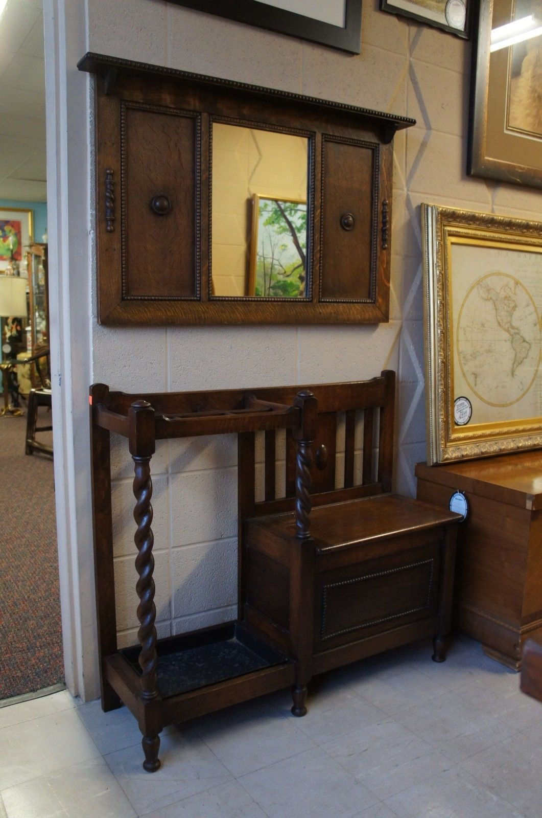 Antique Tiger Oak Barley Twist Hall Tree Bench & Mirror Mission Cane ...
