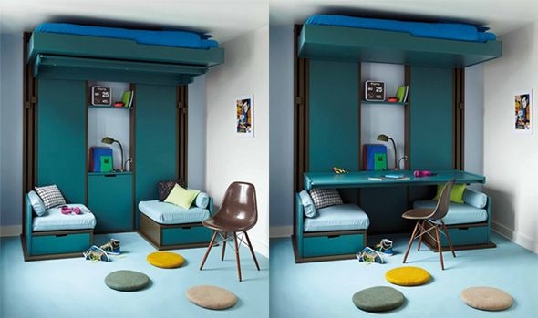 lit escamotable au plafond enfants ou adultes 3 pi ces en 1 pour travailler recevoir ou dormir. Black Bedroom Furniture Sets. Home Design Ideas