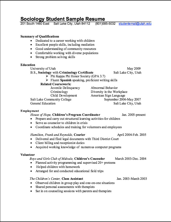 Sociology Student Sample Resume  HttpExampleresumecvOrg