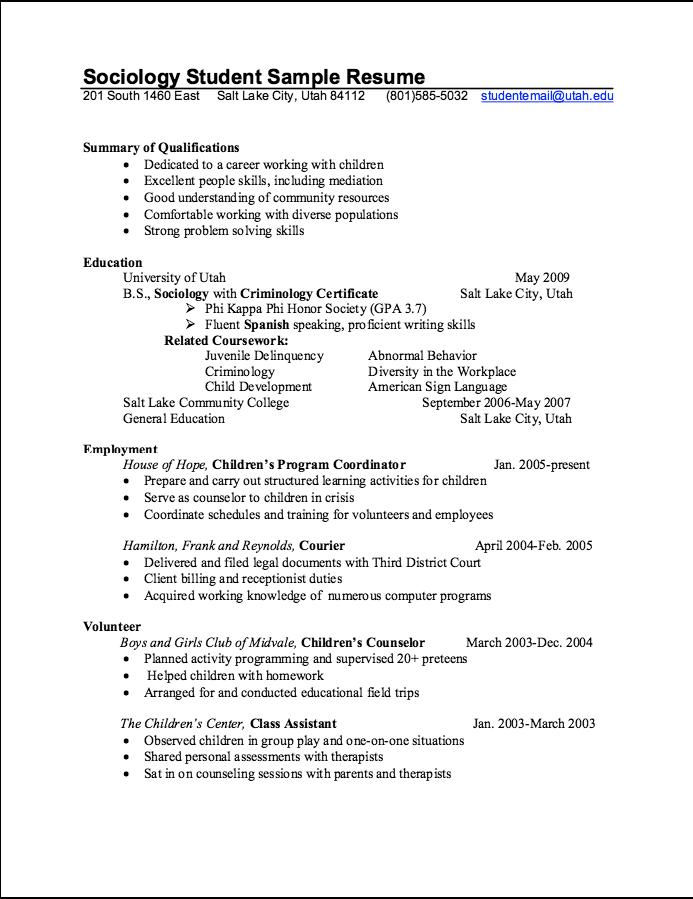 Sociology Student Sample Resume Http Exampleresumecv