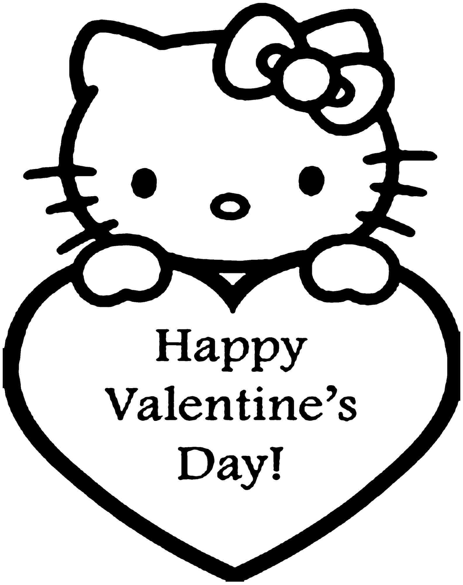 Hello Kitty Valentine Coloring Pages Valentines Day Coloring