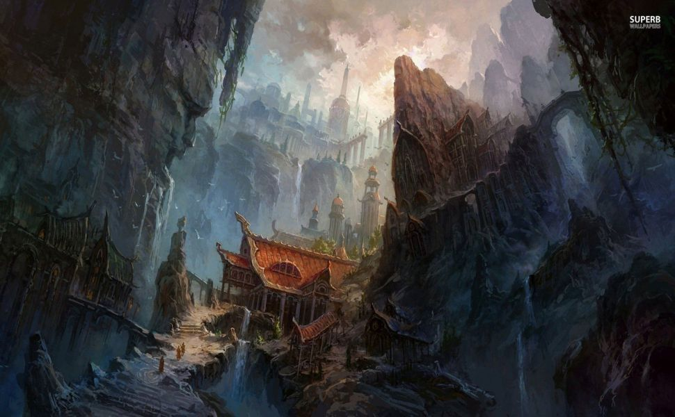 Ancient Chinese Temple Hd Wallpaper Urban Fantasy Art Fantasy Art Landscapes Environment Concept Art