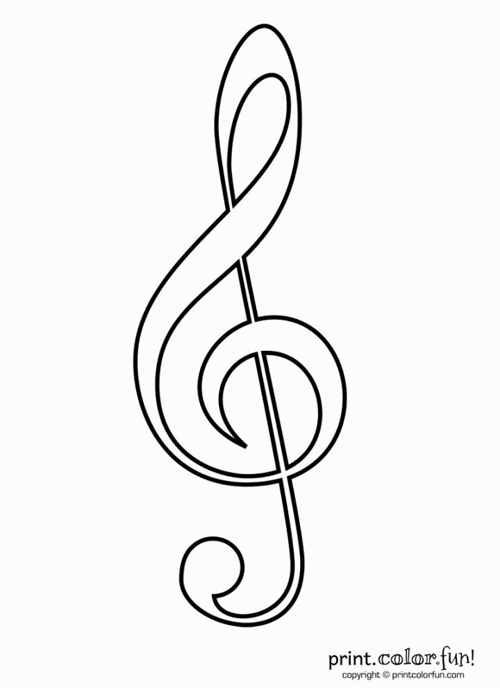 Treble Clef Coloring Page | Coloring Pages | Pinterest | Clave de ...