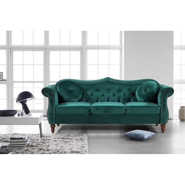 US Pride Furniture Anna Upholstered Nailhead Chesterfield Sofa (Green)