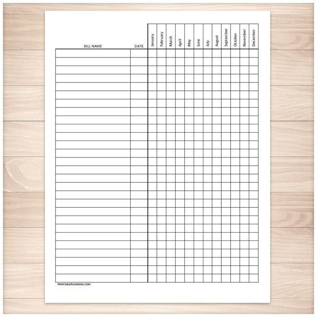 Bill Payment Tracker Log - Full Year - Printable | Filofaxing ...