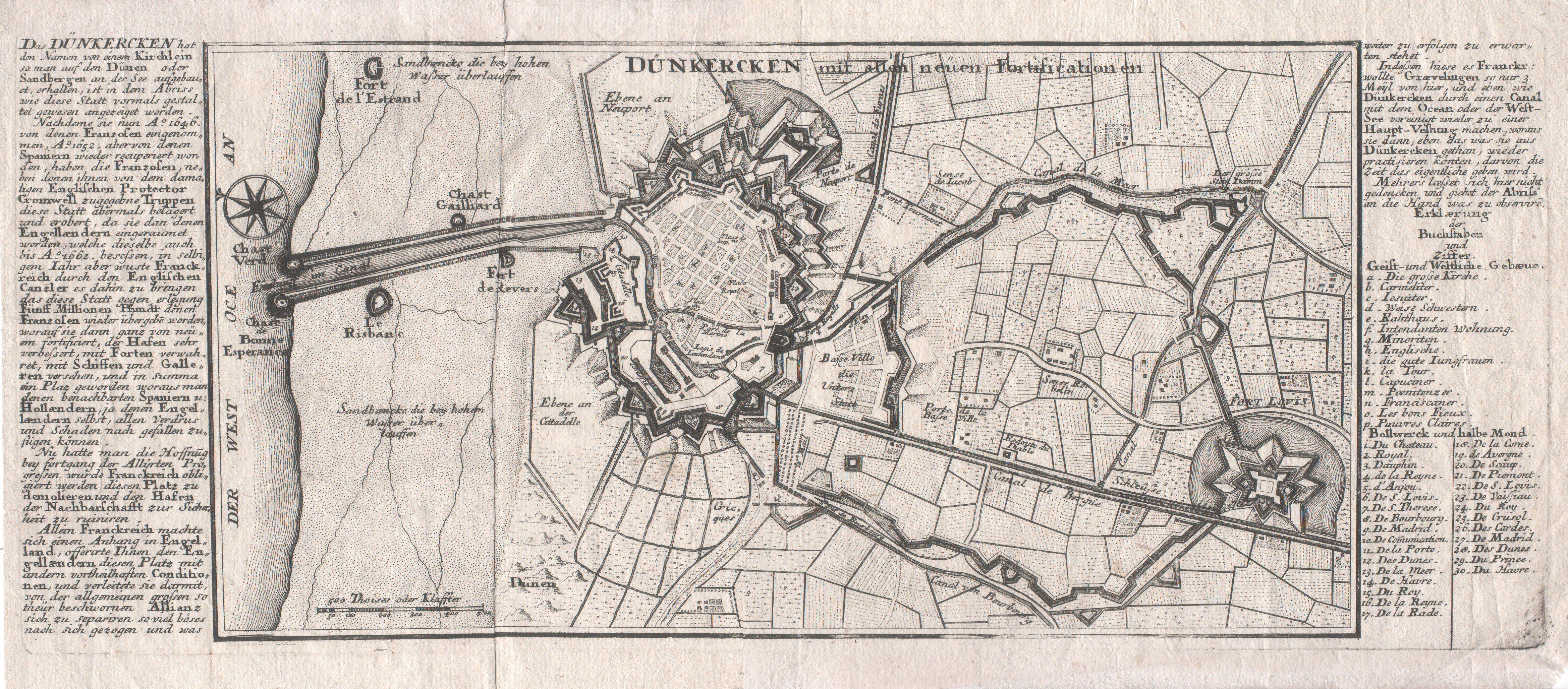 Plan En Allemand Des Fortifications De Dunkerque Vers 1700