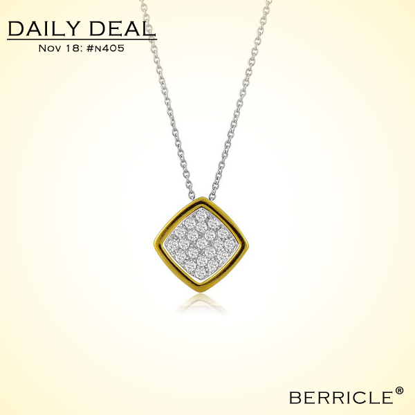 * Daily Deal * Today: $24.50 (Regular:$48.99)  50% OFF, Nov 18, 2013 only  CUBIC ZIRCONIA CZ STERLING SILVER SQUARE PENDANT NECKLACE  #berricle #jewelry