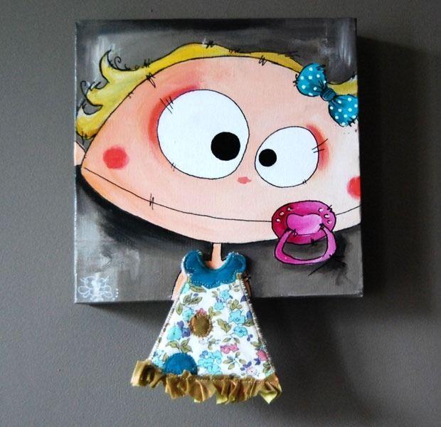 tableau b b gusse fille personnalis acrylique et tissu sur toile chambre d 39 enfant de b b. Black Bedroom Furniture Sets. Home Design Ideas