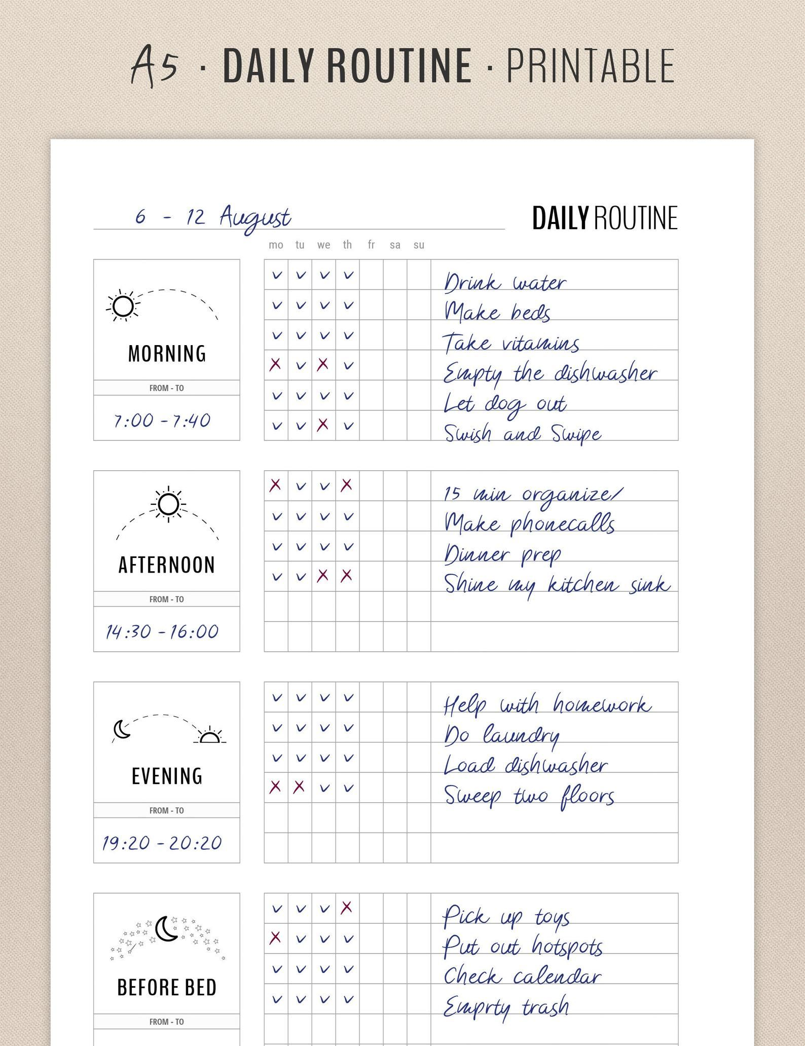 Daily Routine Planner Printable, Flylady Morning R
