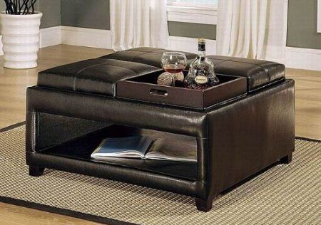 Open Bottom Storage Ottoman Coffee Table With 4 Flip Trays