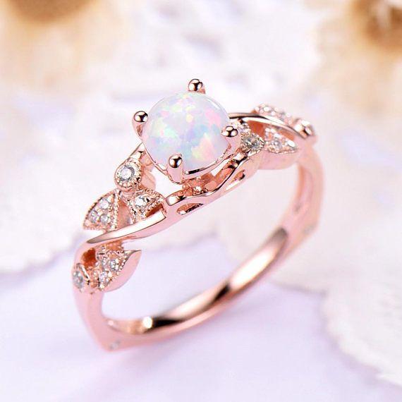 Opal Engagement Ring 14k 18k Rose Gold 925 Sterling Silver Round Cut Antique CZ Art Deco Wedding Ring Milgrain Anniversary Gift Women Set