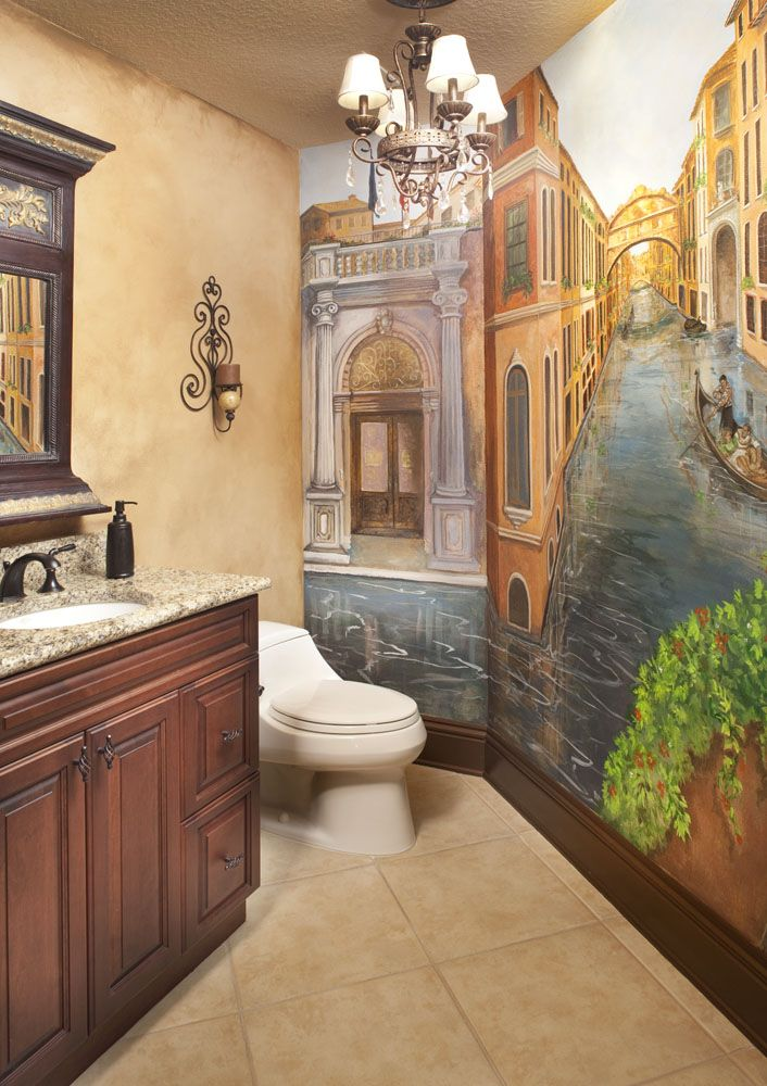 Powder Bath With Venetian Mural