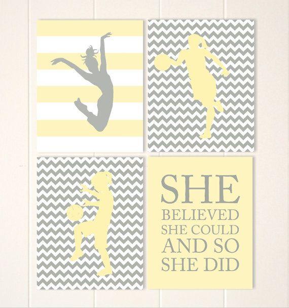 Yellow grey chevron girls wall art, basketball girl art, soccer girl ...