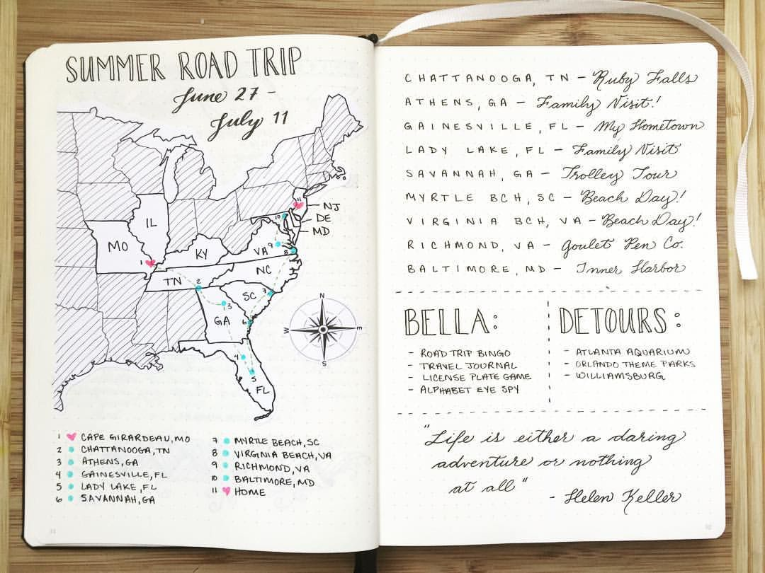 Learn How To Use Your Bullet Journal To Learn And Review A - Blank map of us summer trip