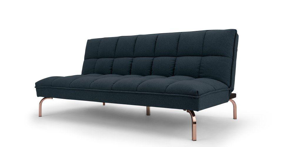 Hallie Click Clack Sofa Bed Aegean Blue With Copper Legs Canape