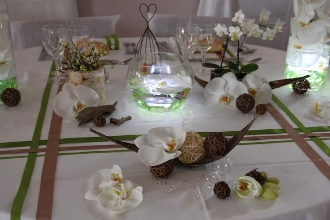 D coration mariage orchid e vert amande id es mariage perrinedo pintere - Idee deco table mariage ...
