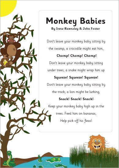 Monkey Babies Poem | Baby poems, Kids poems, Nursery songs