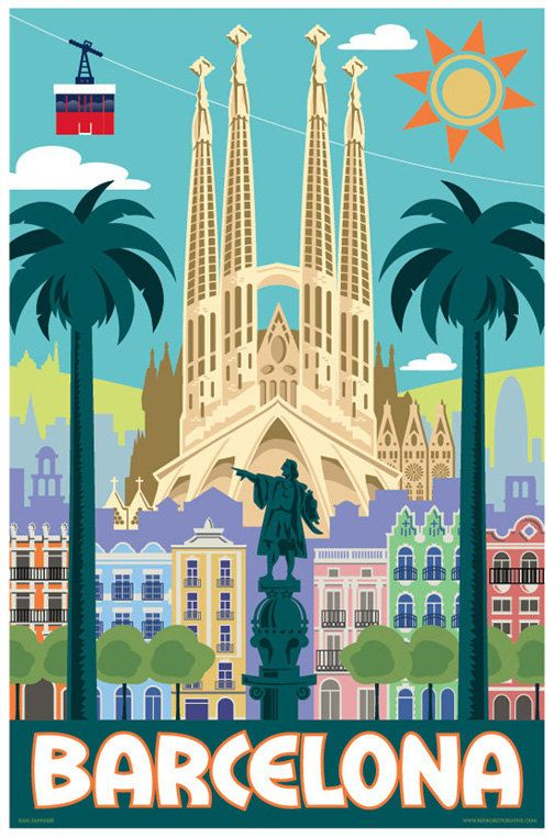 Barcelona Sagrada Familia Retro Travel Poster Print By Red Robot Creative On Etsy