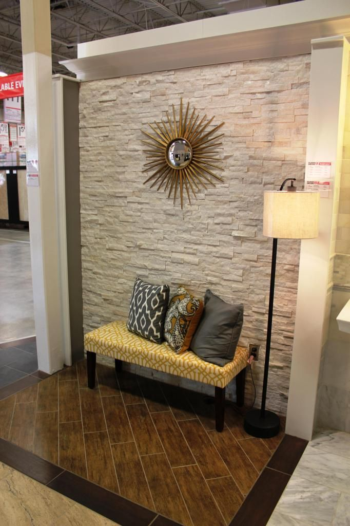 A Stacked Stone Accent Wall House Foyer Pinterest