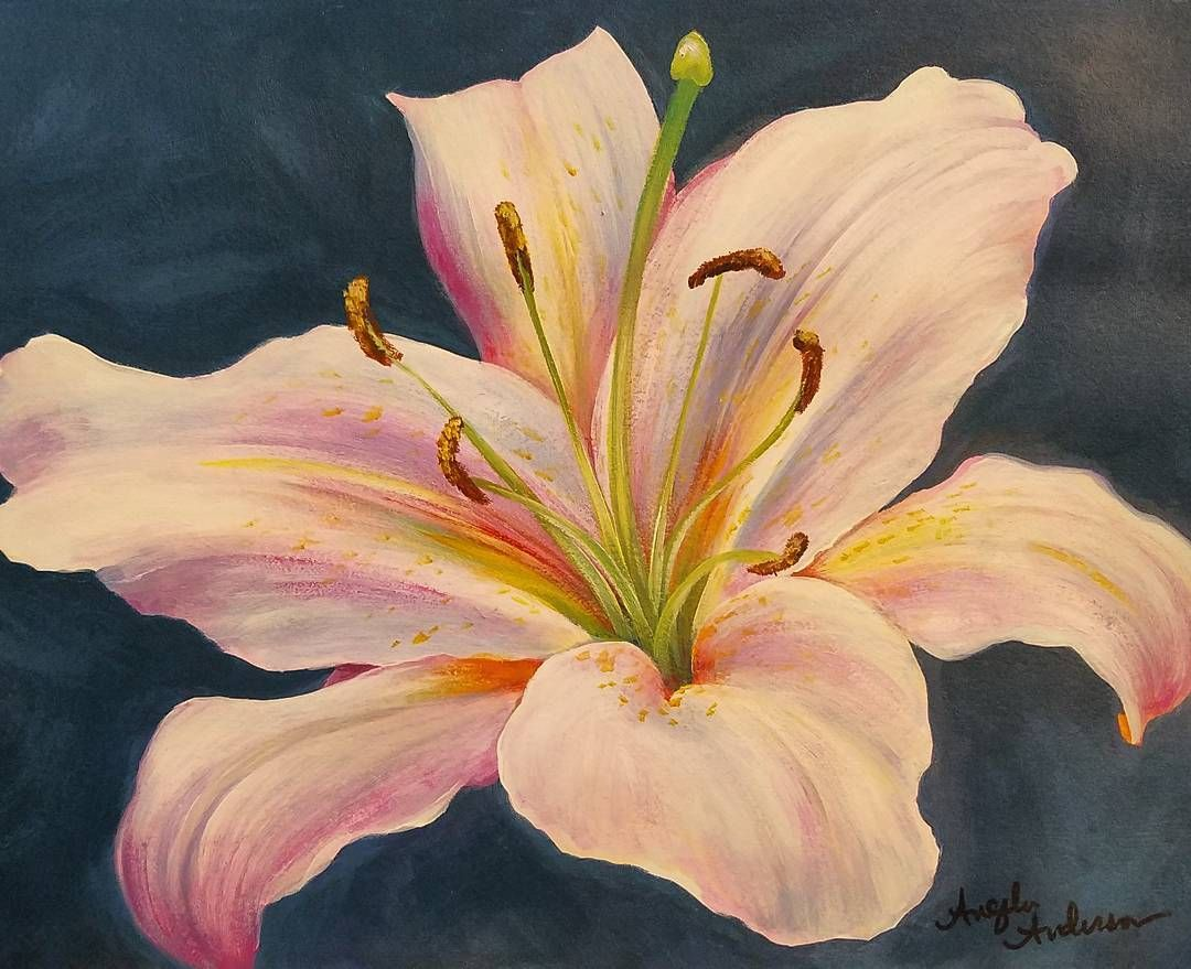 Easter lily acrylic painting tutorial by angela anderson for Painting flowers in acrylic step by step