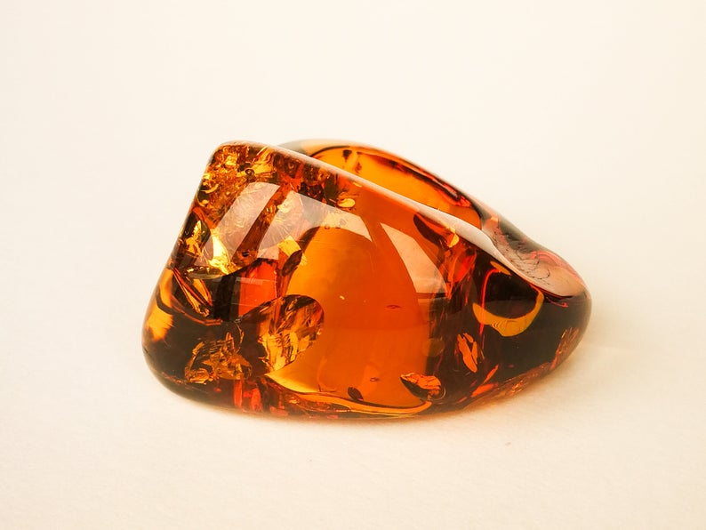 one stone amber large statement ring her gift Unique royal natural amber dark cognac color ring size 9 honey color amber jewelry ring