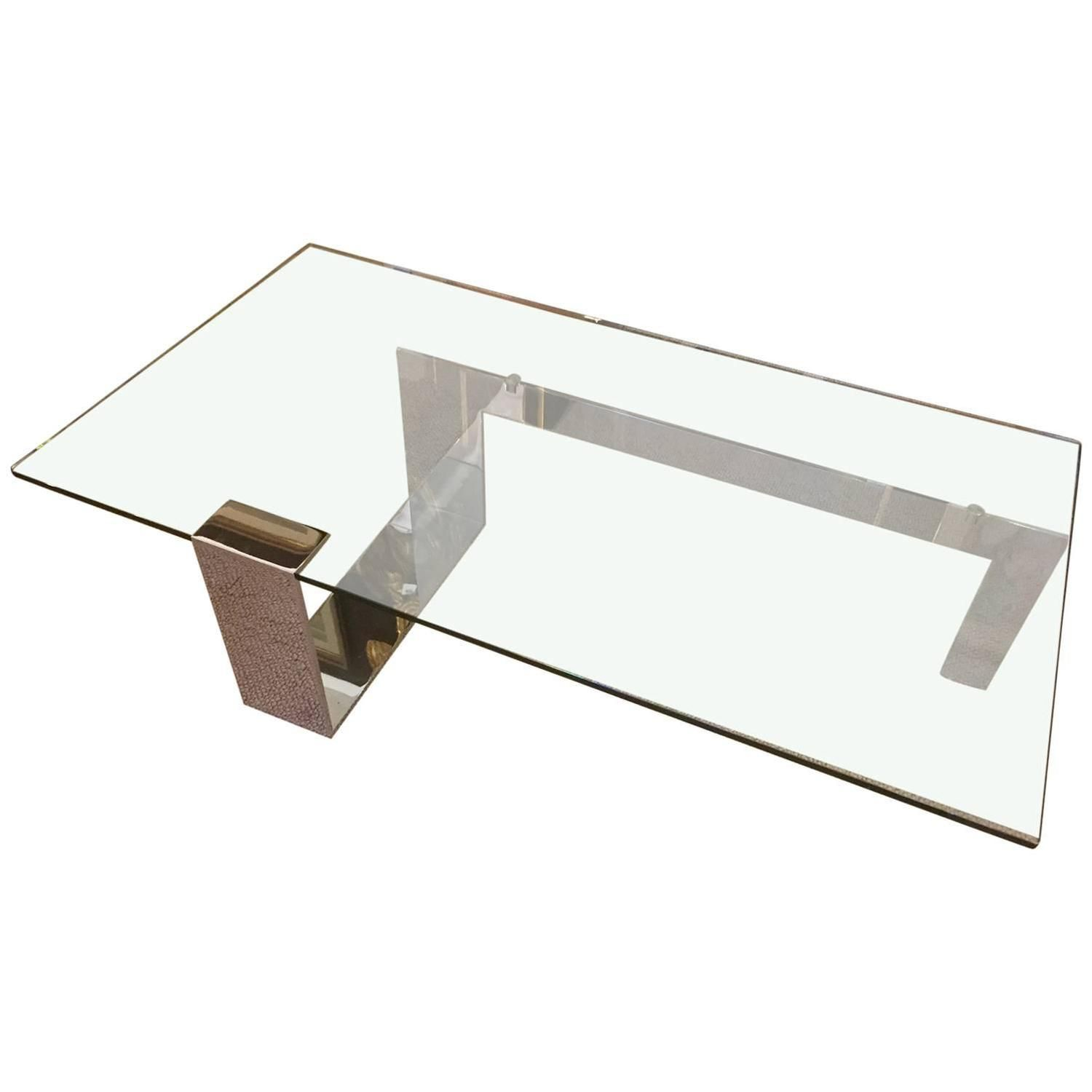 Sleek and y Mid Century Modern Glass and Chrome Coffee Table